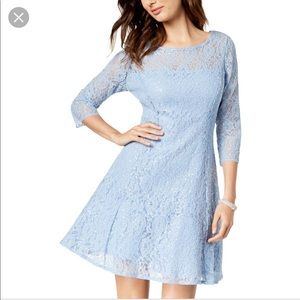 SLNY Blue Sequined A-Line Lace Fit & Flare Dress